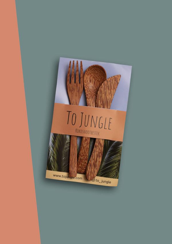 Jungle Kokosnoot bestek natuurlijk, uniek, handgemaakt handig voor onderweg